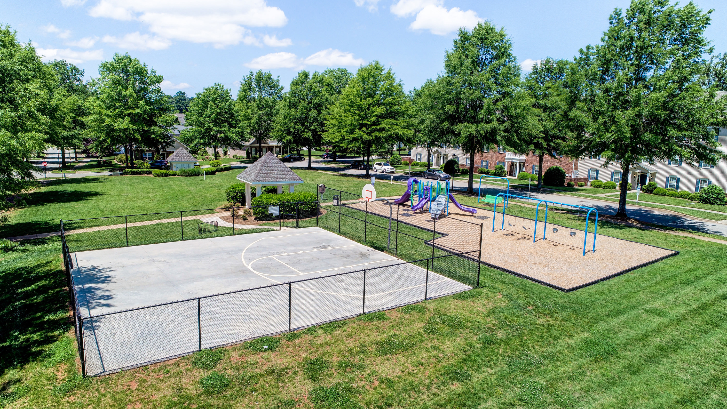 Basketball court and playground