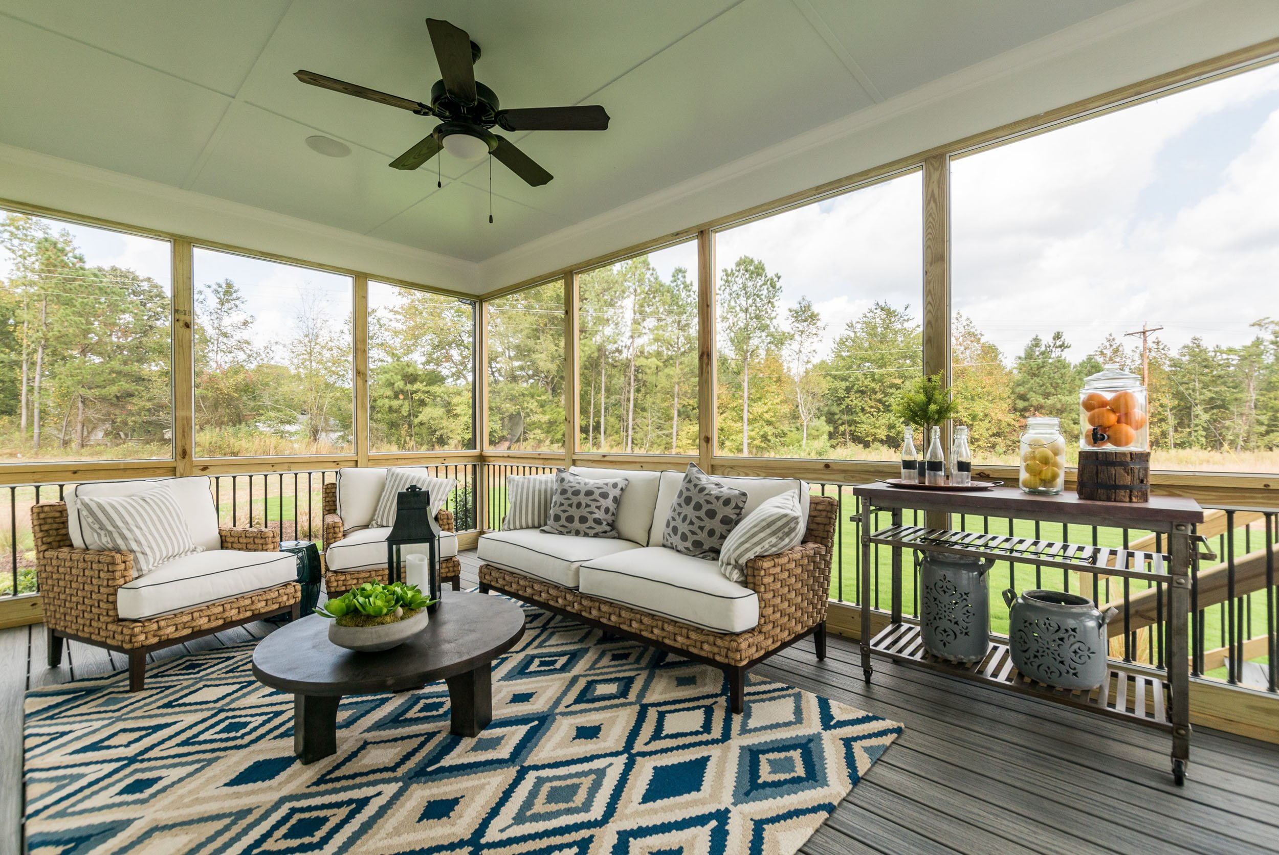 Decorated screened porch