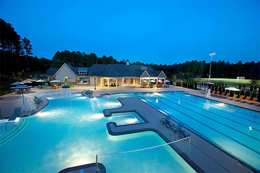 Harpers Mill pool at night