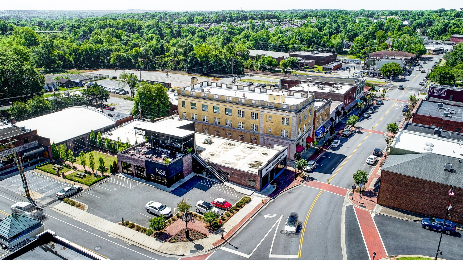 Laurel Walk Downtown Belmont Drone