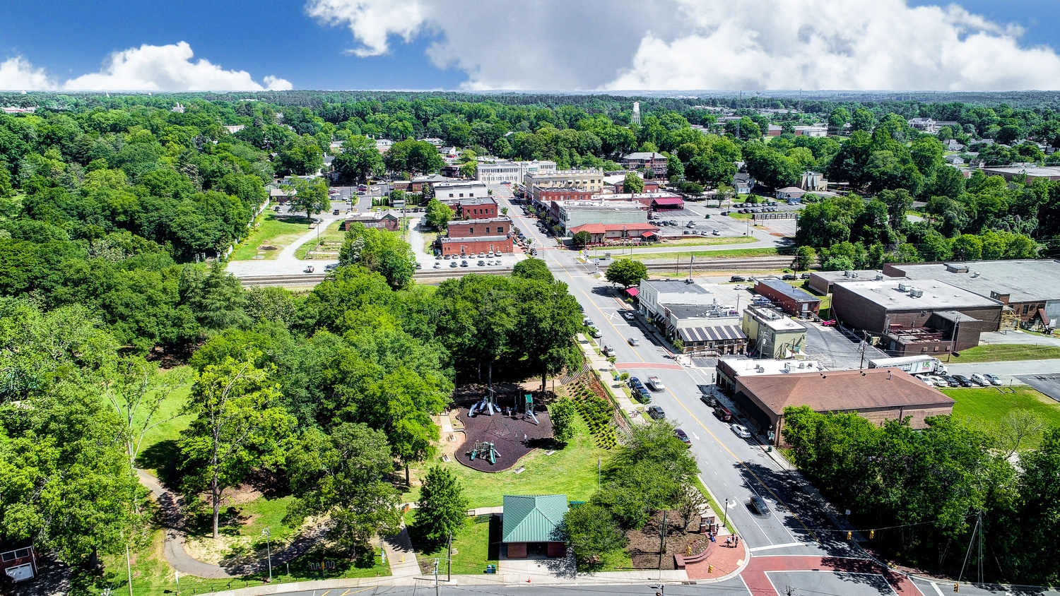 Downtown Belmont Aerial View