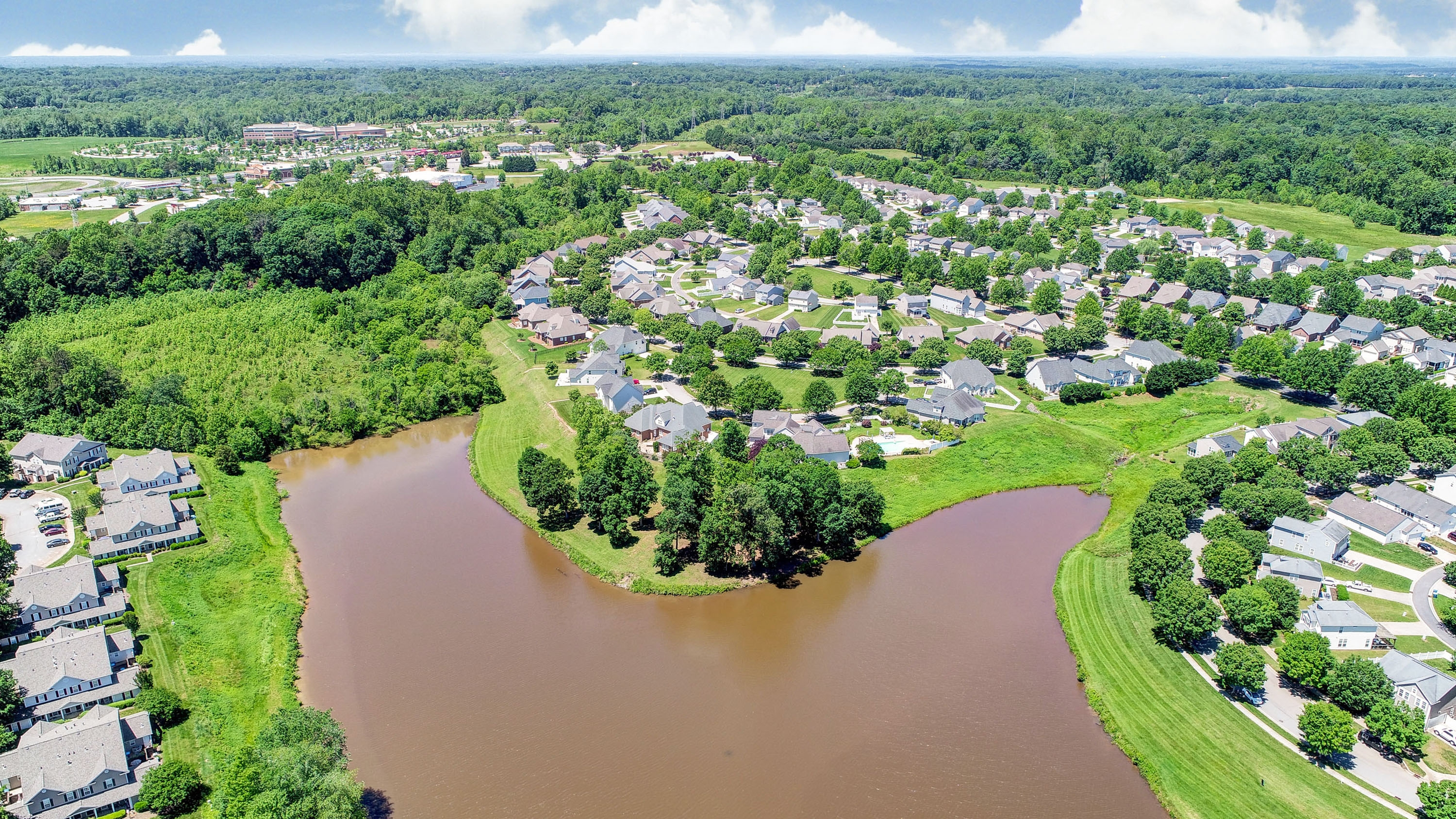 Drone footage of Kinderton Village in Bermuda Run, NC